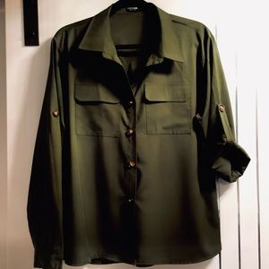 Plus Size 1X SHEIN Curve Olive Tailored Blouse